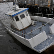 Sinked boat in the Sheapsheadbay channel due to impact from Hurricane Sandy — Stock Photo