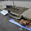 Debris litters the ground in the Sheapsheadbay neighborhood due to flooding from Hurricane Sandy — Stock Photo #14163284