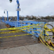 Bridge closed in the Sheapsheadbay neighborhood due to flooding from Hurricane Sandy — Stock Photo