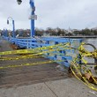 Bridge closed in the Sheapsheadbay neighborhood due to flooding from Hurricane Sandy - Stock Photo