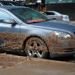 Water level and mud at buildings in the Sheapsheadbay neighborhood due to flooding from Hurricane Sandy - Stock Photo