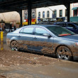 Water level and mud at buildings in the Sheapsheadbay neighborhood due to flooding from Hurricane Sandy — Stock Photo