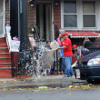 Pumping water out of building basement in the Sheapsheadbay neighborhood due to flooding from Hurricane Sandy — Stock Photo