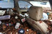 Debris litters inside abondoned cars in the Sheapsheadbay neighborhood due to flooding from Hurricane Sandy — Stock Photo