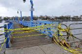 Bridge closed in the Sheapsheadbay neighborhood due to flooding from Hurricane Sandy — Stock Photo