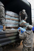 BROOKLYN, NY - NOVEMBER 01: US army helps peoples at the Seagate neighborhood wit Water and food due to impact from Hurricane Sandy in Brooklyn, New York, U.S., on Thursday, November 01, 2012. — Stock Photo