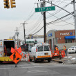 BROOKLYN, NY - NOVEMBER 11: Working out power problems in the Rockaway due to impact from Hurricane Sandy in Queens, New York, U.S., on Novemeber 11, 2012. - Stock Photo