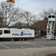 QUEENS, NY - NOVEMBER 11: NYPD command center at the parking lot in the Rockaway beach after impact from Hurricane Sandy in Queens, New York, U.S., on November 11, 2012. - Stock Photo
