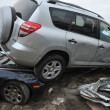 QUEENS, NY - NOVEMBER 11: Deamaged cars at parking lot in the Rockaway due to impact from Hurricane Sandy in Queens, New York, U.S., on Novemeber 11, 2012. - Foto Stock