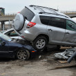 QUEENS, NY - NOVEMBER 11: Deamaged cars at parking lot in the Rockaway due to impact from Hurricane Sandy in Queens, New York, U.S., on Novemeber 11, 2012. - Stock fotografie