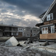 QUEENS, NY - NOVEMBER 11: Damaged houses without power at night in the Rockaway beach - Bel Harbor area due to impact from Hurricane Sandy in Queens, New York, U.S., on November 11, 2012. — Stock Photo #14808273