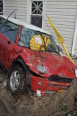 QUEENS, NY - NOVEMBER 11: Damaged car in the Rockaway beach area due to impact from Hurricane Sandy in Queens, New York, U.S., on November 11, 2012. — Stock Photo