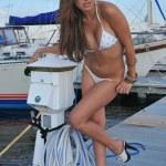 Pretty latin swimsuit fashion model posing sexy — Stock Photo #15707129