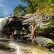 Sexy female model posses in and around waterfalls at Kaatskils mountains upstate NY — Stock Photo