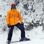 лыжник, стоя на горнолыжных склонов в Страттон, Вермонт — Стоковое фото