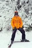Skier standing at ski slopes at Stratton, Vermont — Stock Photo