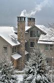 View to slopeside condos at Stratton ski resort, Vermont — Stock Photo