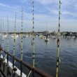 Foto de Stock  : The fishing poles on the boat