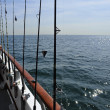 The fishing poles on the boat — Foto de Stock