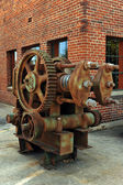 Old rusty motor outside of building — Stock Photo