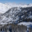 图库照片: Spectacular view to the Mountains from Snowbird ski resort in Utah, USA