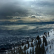 On the top of the World - Snow and Sky. Snowbasin mountain, Utah — Stock fotografie #18539061