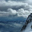 Stock Photo: On the top of the World - Snow and Sky. Snowbasin mountain, Utah