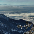On the top of the World - Snow and Sky. Snowbasin mountain, Utah — Foto de Stock