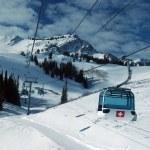 On the top of the World - Gondola, Snow and Sky. Snowbasin mountain, Utah — Stock Photo