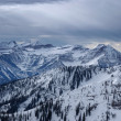 Spectacular view to the Mountains from summit of Alta ski resort in Utah — Stock Photo #18539793