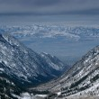 Spectacular view to the Mountains from summit of Alta ski resort in Utah — Stock Photo