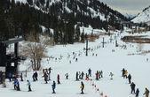 Connection ski lift between Alta and Snowbird ski resorts in Utah — Stock Photo
