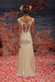 NEW YORK- OCTOBER 14: Models walks runway for Claire Pettibone bridal show for Fall 2013 during NY Bridal Fashion Week on October 14, 2012 in New York City, NY — Stock Photo