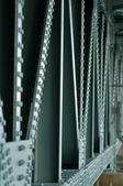 Bridge green blue girder bolts of steel structure — Stock Photo