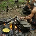 Работа в палаточном лагере — Стоковое фото