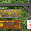 Different signs at the entrance of national park upstate NY - Stock Photo