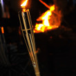 Camp fire and flame of a bamboo torch burning in the night. — Stock Photo #18659851