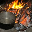 Cooking at night over campfire — Stock Photo #18659857