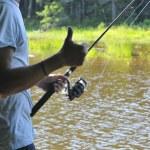 Рыбалка на озере — Стоковое фото
