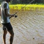 Fishing at the lake — Stock Photo