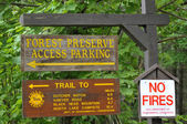 Different signs at the entrance of national park upstate NY — Stock Photo