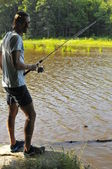 Fishing at the lake — Stock Photo