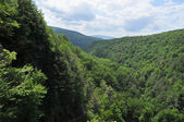 View from ledge on top of Kaaterskills waterfall in the Catskills Mountains of New York — Stock Photo