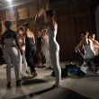 Dancers getting ready backstage for the DL 1961 Premium Denim spring 2013 fashion show  — Stock Photo
