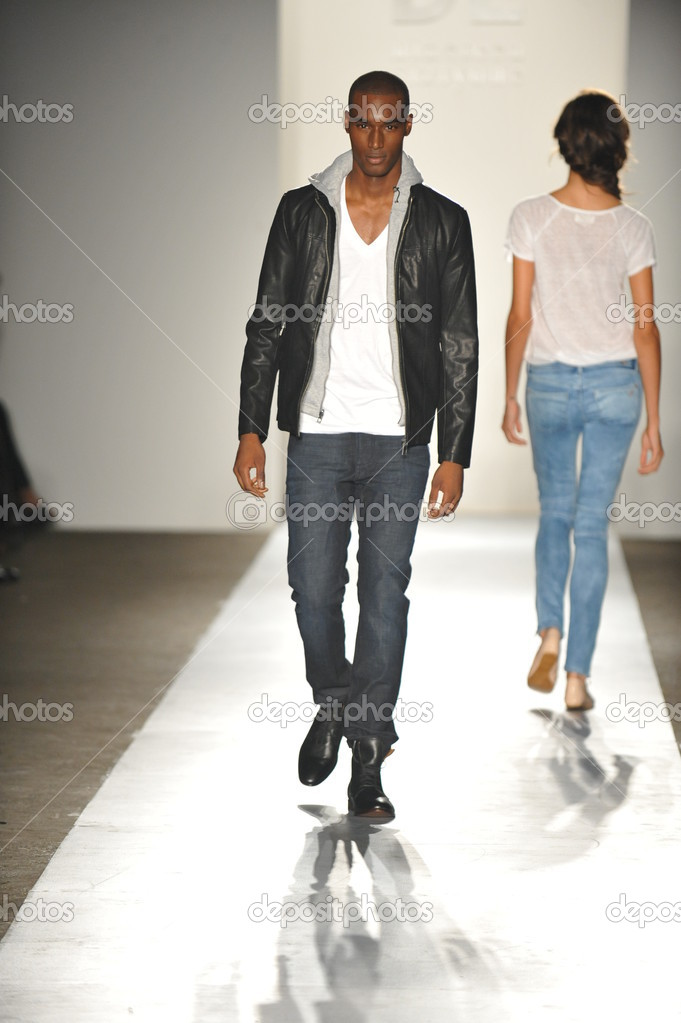 NEW YORK, NY - SEPTEMBER 05: A model walks the runway at the DL 1961 Premium Denim spring 2013 fashion show during Mercedes-Benz Fashion Week at Pier 57 on September 5, 2012 in New York City  Stock Photo #19354363