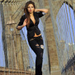 Fashion model posing sexy in black costume on Brooklyn Bridge in New York — Stock Photo