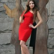 Fashion model posing in short red dress in front of wall in New York City park — Stock Photo