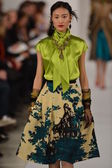 NEW YORK, NY - FEBRUARY 12: A model walks the runway at the Oscar De La Renta Fall 2013 fashion show during Mercedes-Benz Fashion Week on February 12, 2013 in New York City. — ストック写真