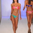 MIAMI - JULY 17: Model walking runway at the Luli Fama Collection for Spring, Summer 2012 during Mercedes-Benz Swim Fashion Week on July 17, 2011 in Miami, FL — Stock Photo