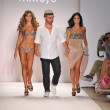 MIAMI BEACH, FL - JULY 18: (L-R) Aylin Mujica, Designer A.Z. Araujo and Adriana de Moura walk the runway at the A.Z Araujo show during Mercedes-Benz Fashion Week Swim on July 18, 2011 in Miami, FL — Stock Photo #22724129